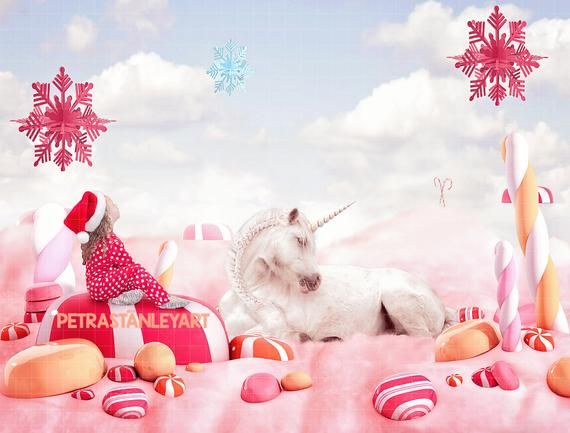 Christmas Candyland Backdrop.Christmas Unicorn In Candy Land Field Digital Backdrop