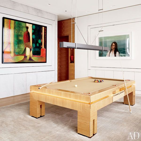 Modern/Asian Pool table on organic neutral tile -Lounge