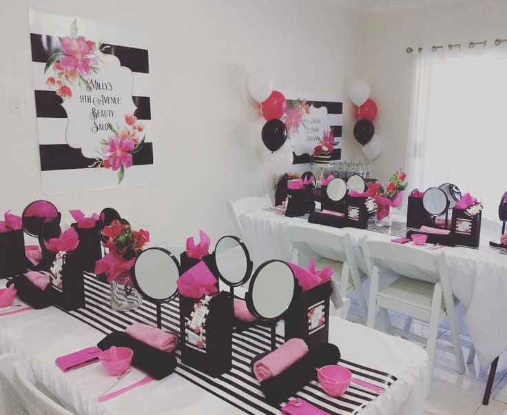 This spa party for a lovely little girl's 9th birthday is a must see! Inspired by Kate Spade this party was an absolute treat for each guest!Concept, printables & styling by @millyboodesigns  Pop over to our Facebook page to see the album or MillyBoo Design's page. Balloons, gold buckets & ice cream cups @partyonshopau • Invitation printing @kelsgiftlabelling • Cake @debbascakes • Chairs & black tablecloth Denman's Party Hire