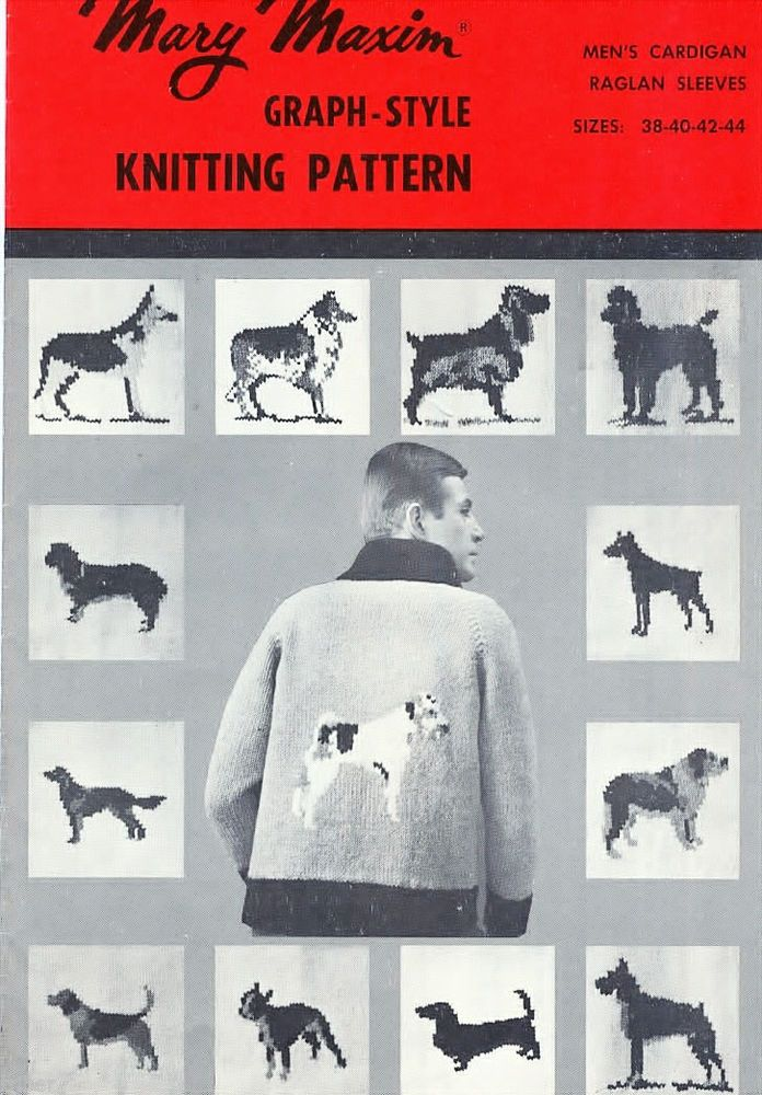 Mary Maxim Knitting PATTERN Sweater 13 Dogs Poodle Beagle Collie Doberman 38-44