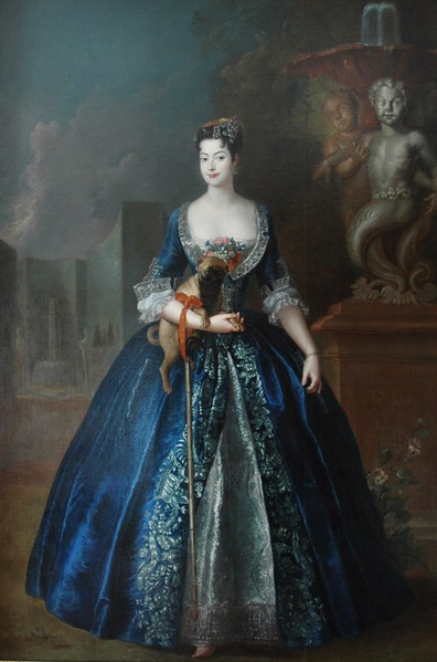 """Portrait of Anna Orzelska with a Pug"", c. 1728, by Antoine Pesne (Prussian, 1683-1757). National Museum, Warsaw. The illegitimate daughter of August II of Poland was portraited in the garden of the Blue Palace in Warsaw."