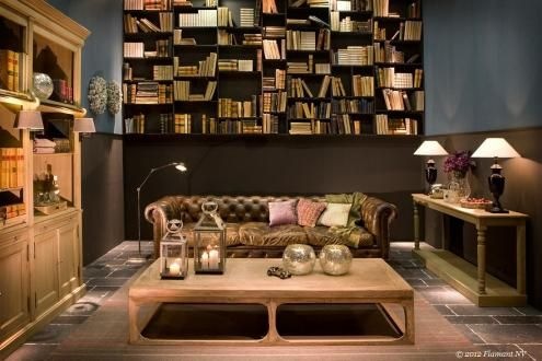 Flamant Room Interiors 091 for USA - Library with Balmore Library, Edinburgh Sofa, Briar Console, Coffee Table Chatter, in Belgium