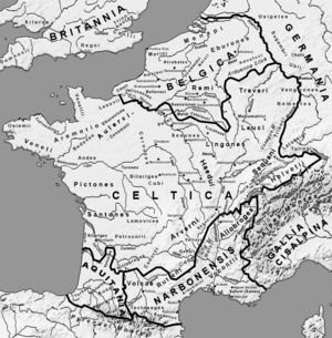 The Roman Provinces in Gaul around 58 BC; note that the coastline shown here is the modern one, different from the ancient coastline in some parts of the English Channel