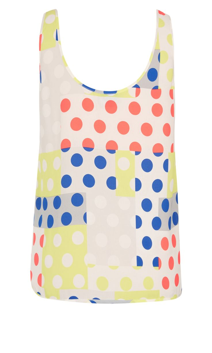 Spot the babe in the Pretty Polka Dot Top! This relaxed cami style features a rounded neckline with oversized armsaye and a darted bust. Pair with your favourite jeans for a fun look that shows off your personality.