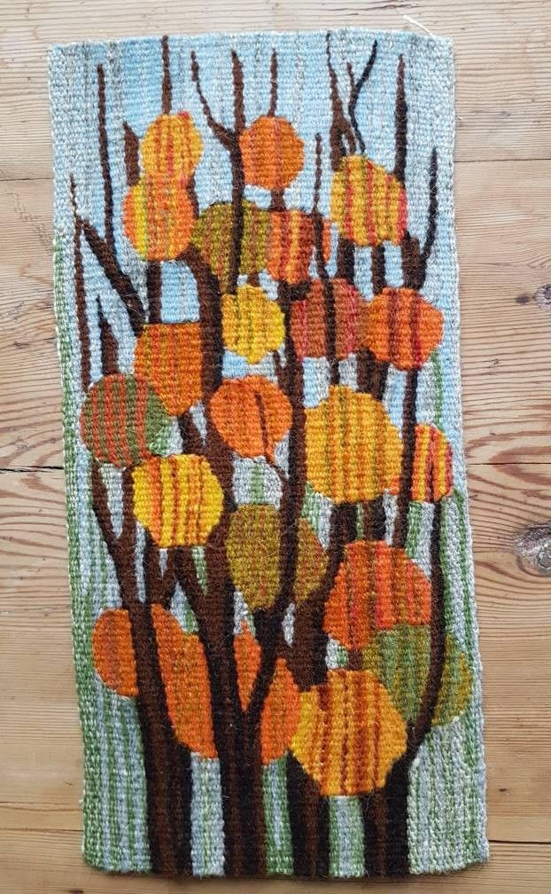 """Excited to share the latest addition to my #etsy shop: Beautiful 1960 little / 11 1/4"""" x 5 1/2"""" /woven handmade / flemish wall tapestry / flemish wall hanging / wall decor with leaves from Sweden http://etsy.me/2zFqbXs"""