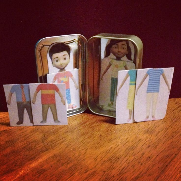 """Caleb and Sophia paper dolls turned into magnet set inside an old Altoids container or any tin you would like. You can print the dolls on JW.org Click on """"Bible Teachings"""" then click """"Children""""  then """"Become Jehovah's Friend"""" and you can find them in the """"Activity"""" section."""