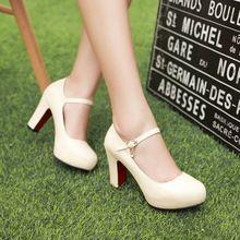 2016 otoño Round Toe boca superficial zapatos de tacón alto dulces perezoso talón grueso plataforma mujeres de los zapatos del banquete(China (Mainland))