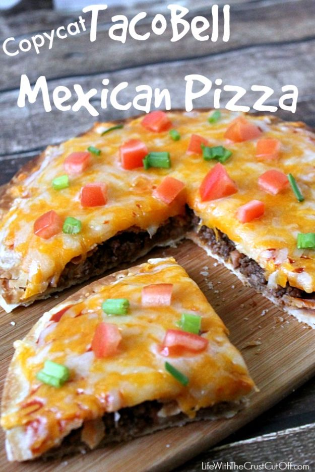 50 More Best Copycat Recipes From Top Restaurants - Copycat Taco Bell Mexican Pizza - Awesome Recipe Knockoffs and Recipe Ideas from Chipotle Restaurant, Starbucks, Olive Garden, Cinabbon, Cracker Barrel, Taco Bell, Cheesecake Factory, KFC, Mc Donalds, Red Lobster, Panda Express http://diyjoy.com/best-copycat-restaurant-recipes