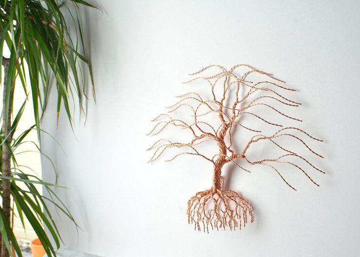 "Metal tree wall art, anniversary copper wire tree, 7th anniversary gift, Bonsai wire tree of life, Original Bonsiree 15""x13"" by BonsireeArt on Etsy https://www.etsy.com/uk/listing/508438740/metal-tree-wall-art-anniversary-copper"
