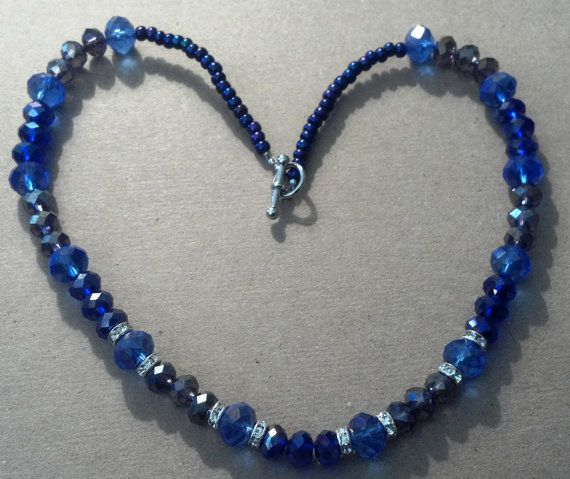 17 handmade sapphire blue and lavender Chinese by MGBeadCreations, $35.00