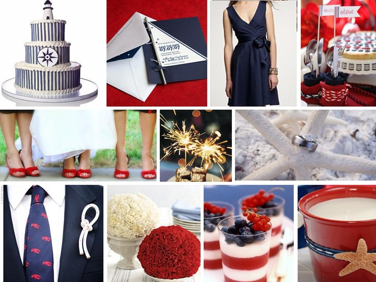 color theme red white and navy blue modcloth wedding