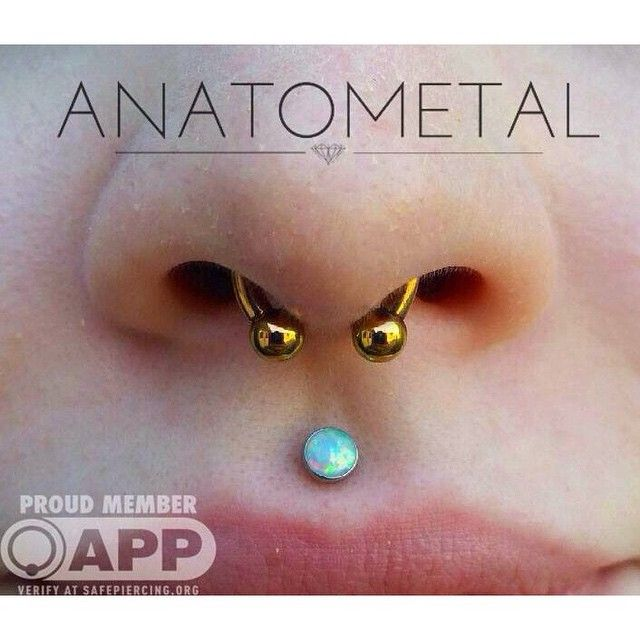 Check out this sweet & simple 12g septum piercing by Cody fitted with a circular barbell from Anatometal that he anodized to a gold color in house. (You can also see a healed philtrum piercing by Eric). Cody is here all day until midnight for your piercing and jewelry needs! (at The Crypt Tattoo Company)