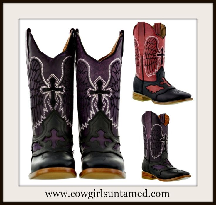 COMFY SQUARE TOE COWGIRL STYLE BOOTS IN PINK AND PURPLE!! Angel Winged Black Crosses on Distressed Genuine Leather Cowgirl Boots  #boots #cowgirl #western #leather #cross #angel #wings #rodeo #cowboyboots #ladiesboots #womensboots #ridingboots #barrelracing #horwseriding #horse #boutique #fashion #beautiful