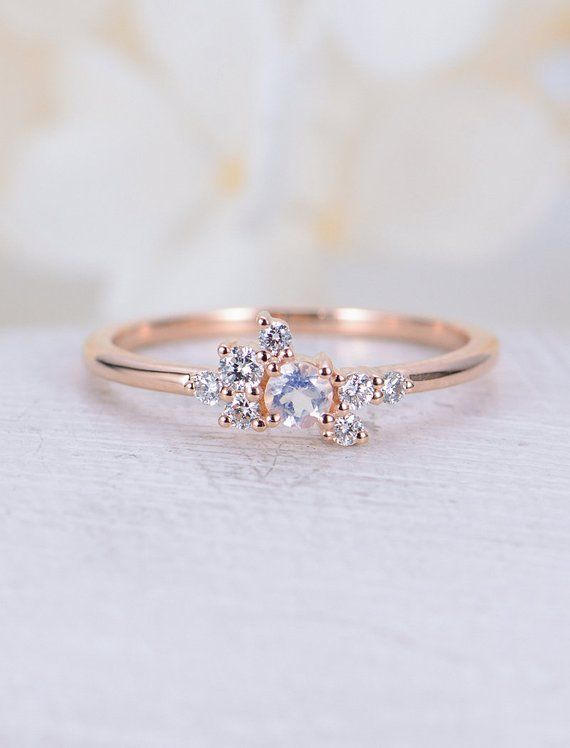 Moonstone Engagement Ring Rose Gold Engagement Ring Simple