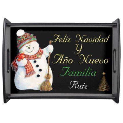 Feliz Navidad Y Año nuevo familia Ruiz Serving Tray - home gifts ideas decor special unique custom individual customized individualized