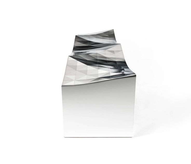 Wave Bench in Mirror Finish Stainless Steel by Zhoujie Zhang