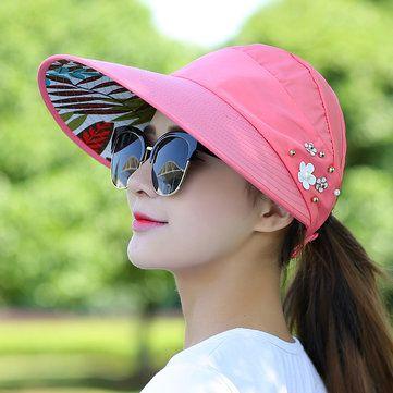 Women Ladies Summer Outdoor Anti-UV Beach Sunscreen Sun Hat Flower Print Caps at Banggood