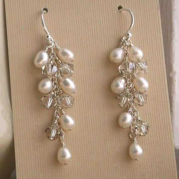 pearl wedding jewelry ideas | Bridal jewelry Swarovski Crystal pearl earrings by ... | Wedding Ideas