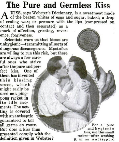 1920's ad for kissing screen.