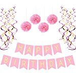 Birthday Party Pack – Pastel Pink Happy Birthday Bunting, Poms, and Swirls Pack- Birthday Decorations - 21st - 30th - 40th - 50th Birthday Party Supplies