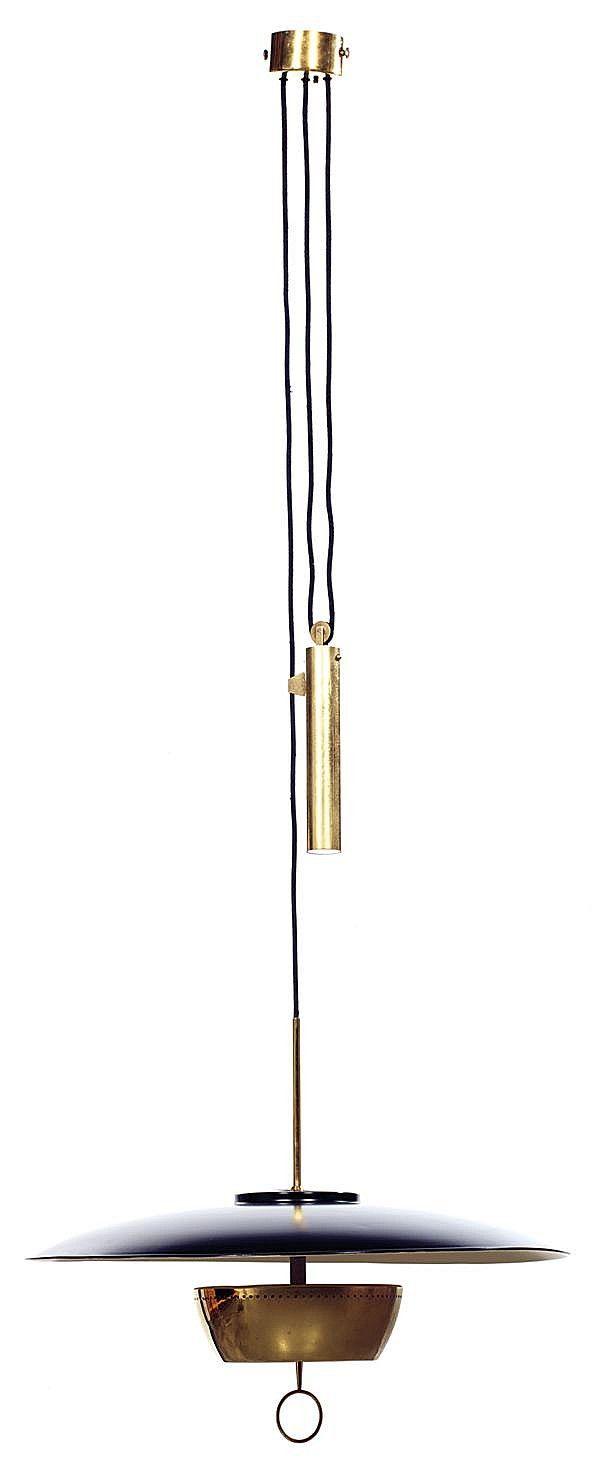 Gaetano Sciolari; #A5011Brass and Enameled Metal Ceiling Light for Stilnovo, c1950.