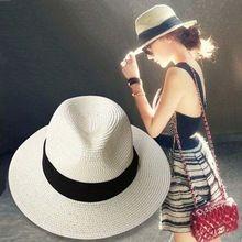 Qualidade flexível chapéu de verão chapéu de palha para mulheres panamá Sun Viseira praia chapéus abas largas clássico cinto preto Jazz Gorra Sol 1MZ0708(China (Mainland))