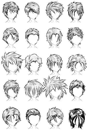20 Male Hairstyles By LazyCatSleepsDaily On DeviantART Anime MaleDrawing