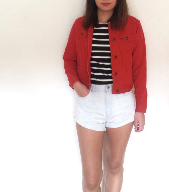Red demin jacket Ralph Lauren by VintageHuntrGathrer on Etsy