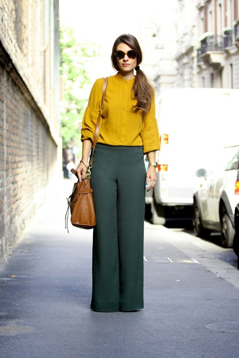 mustard top, green trousers