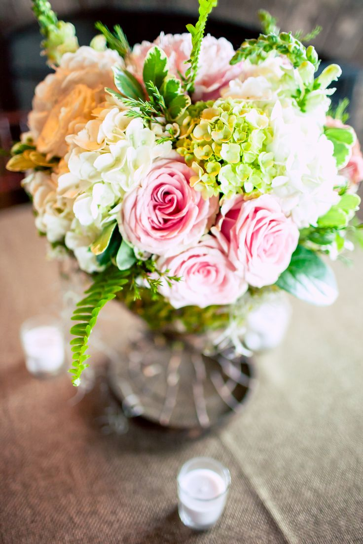 #Springtime or #summertime #floral #arrangements were outta this world for ::Jessica + Tyler's romantic wedding in Sea Island, Georgia:: #roses #hydrangea #green #pink #white #centerpiece #weddingdecor #style #spring #springweddings #summer #summerweddings