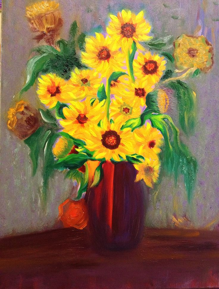 Sunflowers In Red Vase Oil On Canvas 24x18 Errol