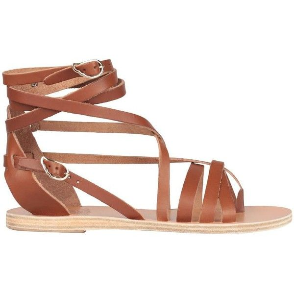 Ancient Greek Sandals Satira leather sandal (£165) ❤ liked on Polyvore featuring shoes, sandals, brown, flat sandal, brown leather shoes, flat shoes, leather shoes, wing shoes and multi-strap sandals