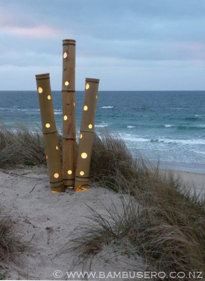 Bamboo tall spot cluster outdoor lighting