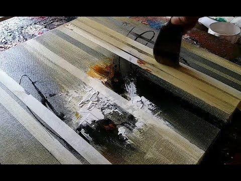 Abstract painting / Using masking tape / palette knife / flat brush / Acrylics / Demonstration - YouTube