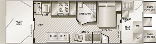 Pontoon Houseboat Floor Plans | pontoon house boat floor plan, showing the typical design layout.