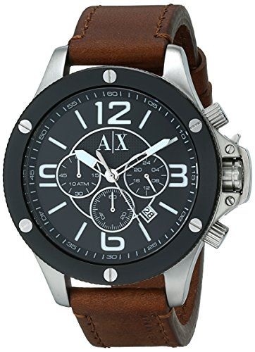 17 best images about watches brown leather leather armani exchange men s analog display analog quartz brown watch