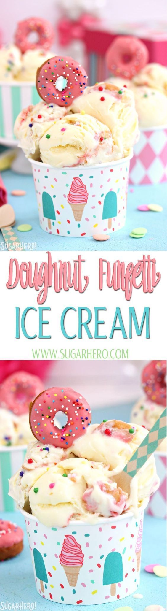 Doughnut Funfetti Ice Cream - delicious homemade ice cream with REAL doughnut pieces and sprinkles mixed right in! | From http://SugarHero.com