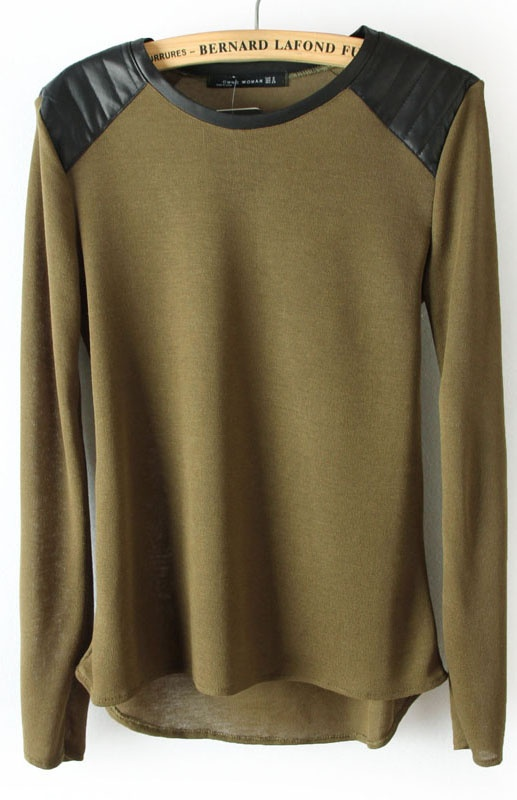 #SheInside Green Shoulder Contrast PU Leather Loose T-Shirt - Sheinside.com