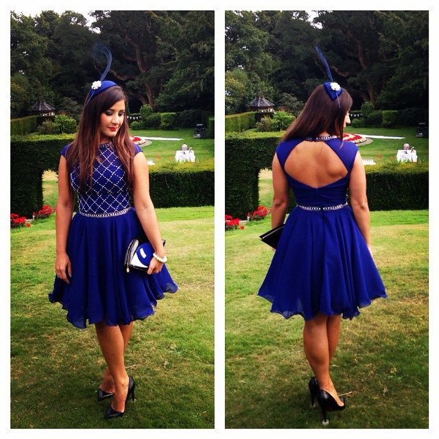 Chi Chi Melissa dress, court shoes from Christian Louboutin, bag from Lulu Guinness, fascinator made by me.