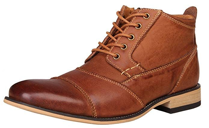 Kunsto Mens Genuine Leather Oxfords Dress Ankle Boots with Zipper
