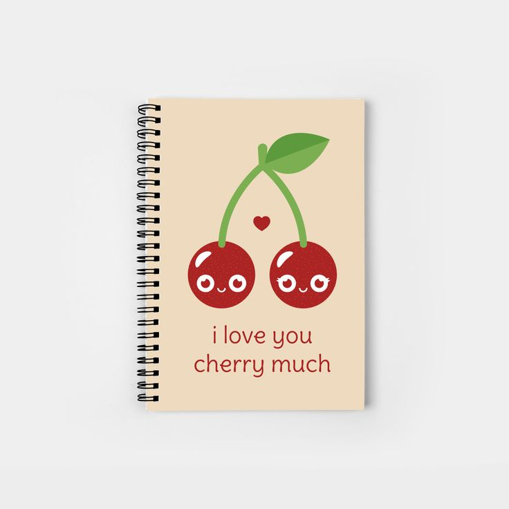 I Love You Cherry Much spiral notebook by Slugbunny - pun, puns, cherry, cherries, fruit, food, funny, cute love, relationship, tasteful, tasty, relationships, valentine, valentines, vector, art, illustration, drawing, design