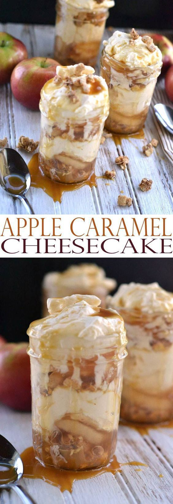 These would be perfect to serve at your Halloween Party or gorgeous on your Thanksgiving table! Apple Caramel Cheesecake Recipe – Mason Jar Desserts   All She Cooks