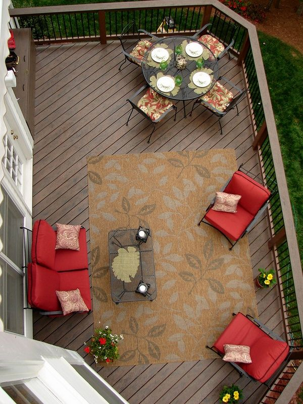 Upper deck idea. Patio table for outside dinner and lounge for after dinner drinks!