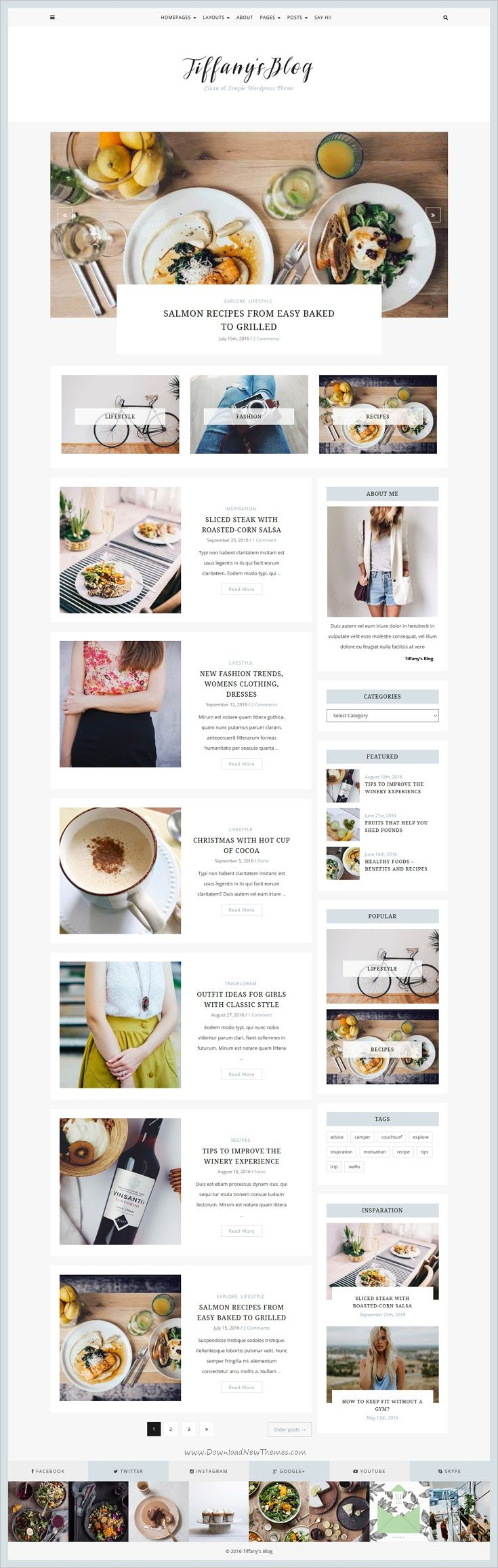 Tiffany is a minimal and clean #WordPress #Blog theme suitable for any kind of personal, #food, travel or photography blogging website download now➩ https://themeforest.net/item/tiffany-clean-and-simple-wordpress-blog-theme/18137210?ref=Datasata