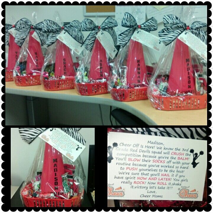 Cheer Gifts! Good luck cheer competition gift baskets! The card explains the contents (Crush drink mix,lip balm,blow pops, socks,push pop, nail polish, now & later, pop rocks,fruit roll up) with a megaphone and wearable cheer bow as the bow. By Christina Waller