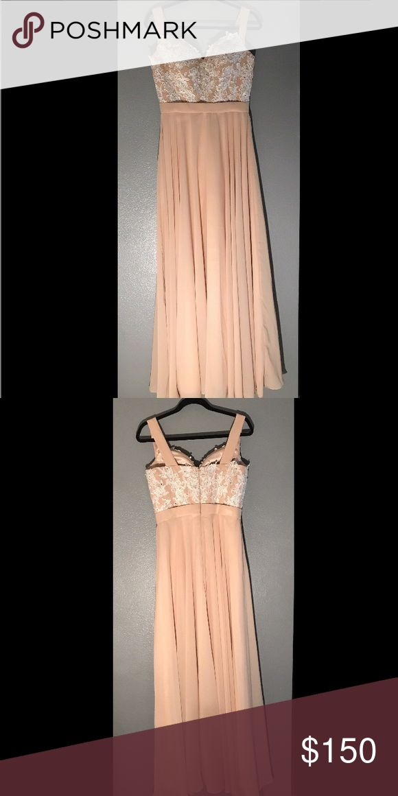 Long dress Flowy long champagne color dress with white lace. Made of polyester. Never worn. Dresses Prom