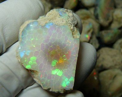 Ethiopian Opal with a rare 'Honeycomb' Pattern
