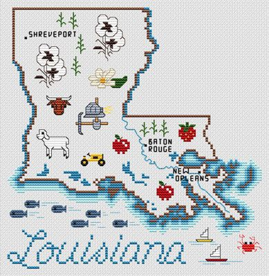 Sue Hillis Louisiana Map - Cross Stitch Pattern. Model to be stitched on your choice of fabric using DMC floss. Stitch count 104 x 107.