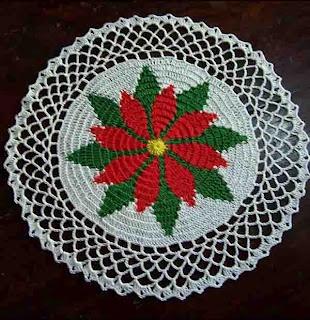 Free Crochet Patterns: Poinsettia Doily Pattern