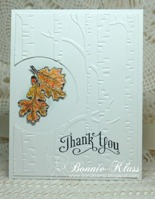 handmade thank you card from Stamping with Klass ... Autumn leaves colored, fussy cut and shaped .... birch trees embossing folder textured background ...